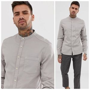 ASOS Grandad Collar Slim Denim Gray Shirt